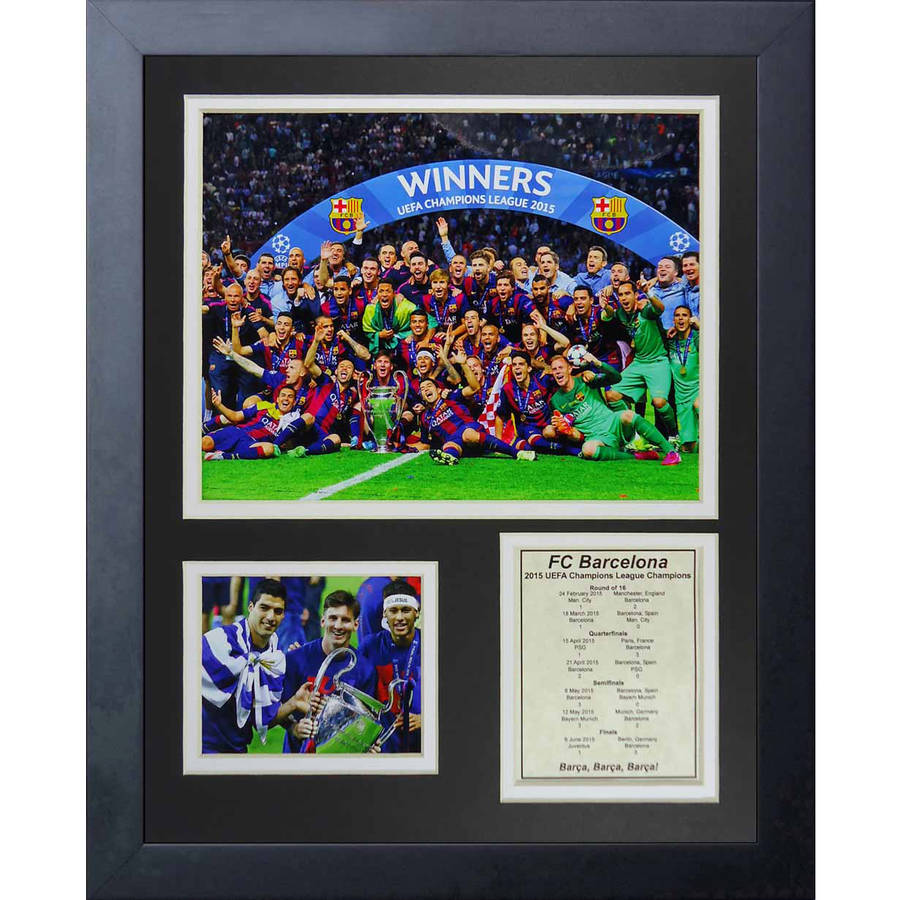 "Legends Never Die FC Barcelona 2015 UEFA Champions League Winners Collage Photo Frame, 11"" x 14"""