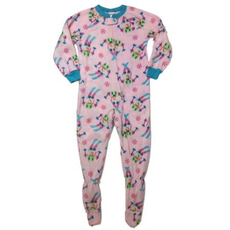 - Girls Plush Pink Skiing Frog Blanket Sleeper Footed Pajamas Small 6/6X