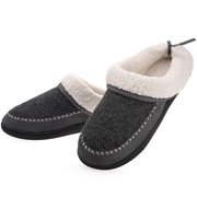 DASEIN Women's Slippers House Shoes Memory Foam Ladies Warm Winter Wool-Like Lining Slip on Clogs Indoor Outdoor Footwear