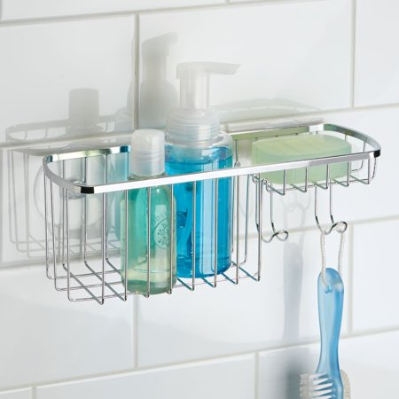 InterDesign Suction Bathroom Shower Caddy Combo Organizer Basket, Polished Stainless Steel