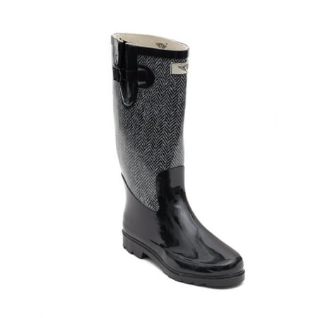 Women Rubber Rain Boots with Cotton Lining, Chevron Jacket (Womens Rubber Boot Liners)