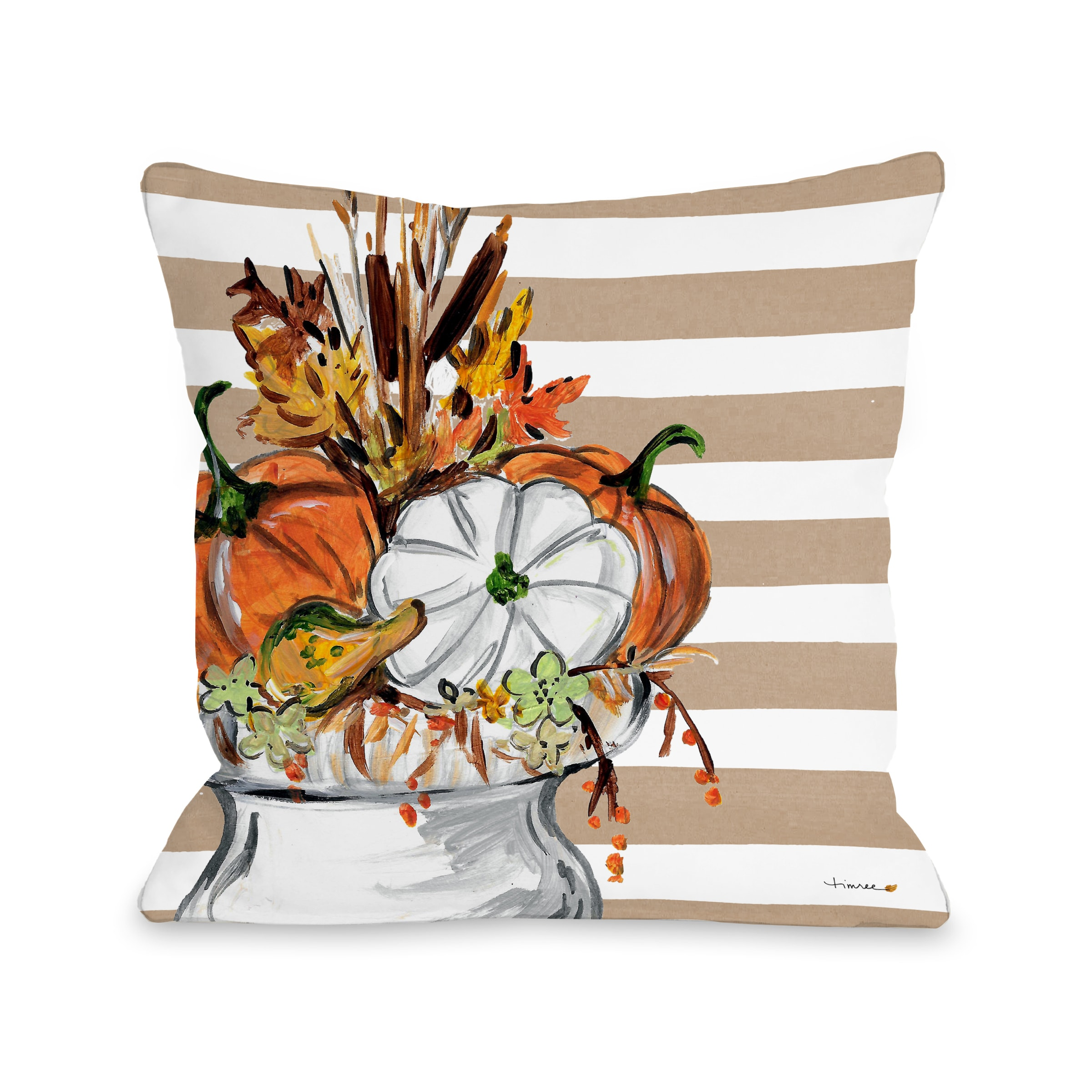 Fall Vase - Tan 18x18 Pillow by Timree
