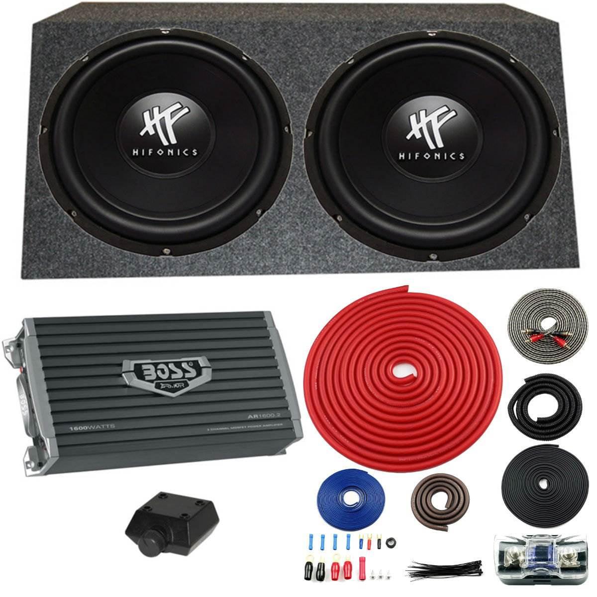 2 HIFONICS HFX12D4 12 1600W Car Audio DVC Subwoofers Subwoofers Ported Box