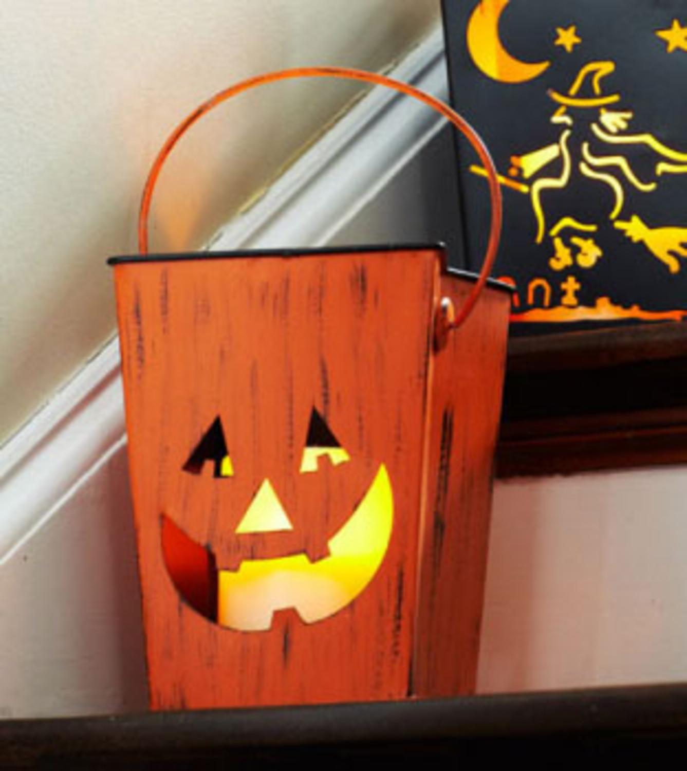 "7"" Distressed Orange Pumpkin Halloween Candle Lantern Luminary"