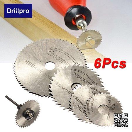 6pcs HSS Rotary Blade Circular Saw Disc Wheel for Rotary Tool Cutting +1 Mandrel - image 10 of 10