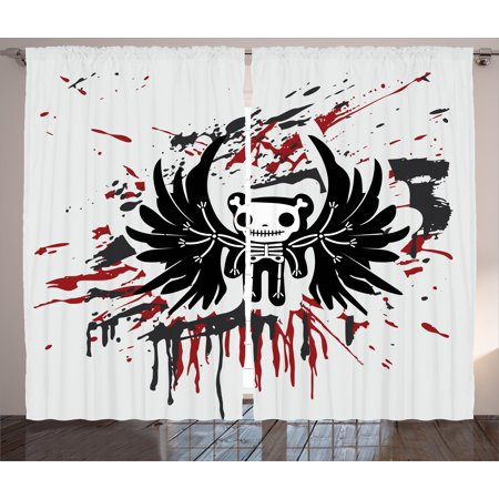 Interior Design For Halloween (Halloween Curtains 2 Panels Set, Teddy Bones with Skull Face and Wings Dead Humor Funny Comic Terror Design, Window Drapes for Living Room Bedroom, 108W X 84L Inches, Pearl Black)