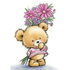 "Wild Rose Studio Ltd. Clear Stamp 3.5""X3"" -Teddy With Flowers"