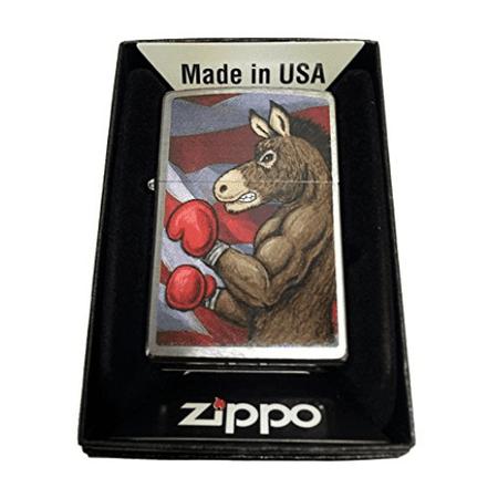 Zippo Custom Lighter - Democratic Symbol Donkey Boxing - Regular Brush Finish Chrome