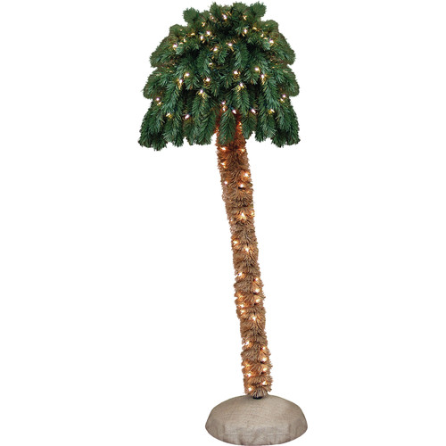 General Foam Plastics 5' Green Tropical Artificial Christmas Palm Tree with 150 Clear Lights