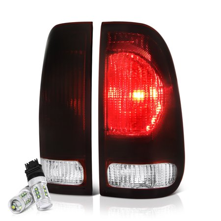 VIPMOTOZ Smoke Red Lens OE-Style Tail Light Lamp Assembly For 1997-2003 Ford F-150 & 1999-2007 F-250 F-350 Superduty Pickup Truck, Driver & Passenger Side