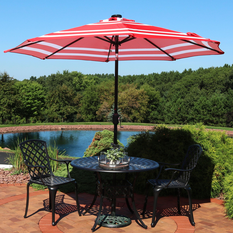 Sunnydaze 9-Foot Outdoor Aluminum Solar LED Lighted Umbrella with Tilt & Crank, Catalina... by Sunnydaze Decor
