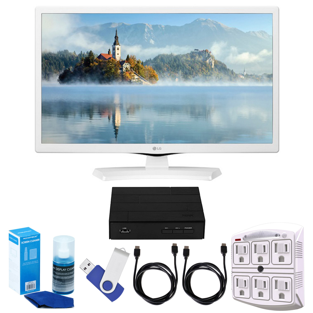 "LG 24LJ4540-WU 24"" HD LED TV - White (2017 Model) Plus Terk Cut-the-Cord HD Digital TV Tuner and Recorder 16GB Hook-Up Bundle E19LG24LJ4540WU LG LJ4540-Series 24-Class HD LED TV (White)Remote ControlLimited 1-Year WarrantyLG 24-Inch HD LED TV (White)(2017 Model)Terk HD Digital TV Tuner with Recording - Cut The Cord!!Extreme Speed 16GB USB 2.0 Flash Drive (Blue)Universal Screen Cleaner (Large Bottle) for LED TVsSurgePro 6 NT 750 Joule 6-Outlet Surge Adapter with Night Light2x 6ft High Speed HDMI Cable (Black)"