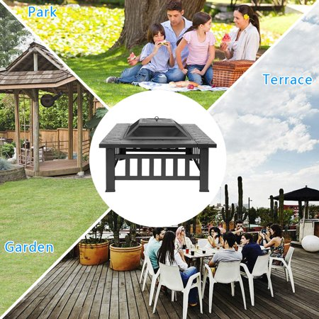Wood Burning Fire Pit Tables, Heavy Metal Square Fire Pit with Mesh Screen Lid, Poker, Cover, Multifunctional Backyard Patio Garden Stove Fire Pit/Ice Pit/BBQ Fire Pit, Black Faux-Stone Finish, W6465 ()