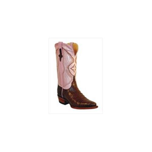 Ferrini 8246104100B Ladies Belly Caiman V-Toe Boots Black 10B by