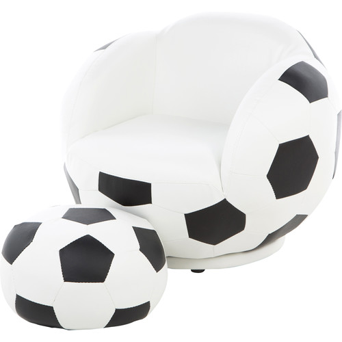 Coaster Company Kids Soccer Ball Chair and Ottoman, Black/White Leatherette