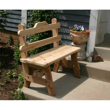 Creek Vine Design WRF6TBGBCVD 6 ft. Cedar Tab Back Bench Cedar Creek Cedar Bench