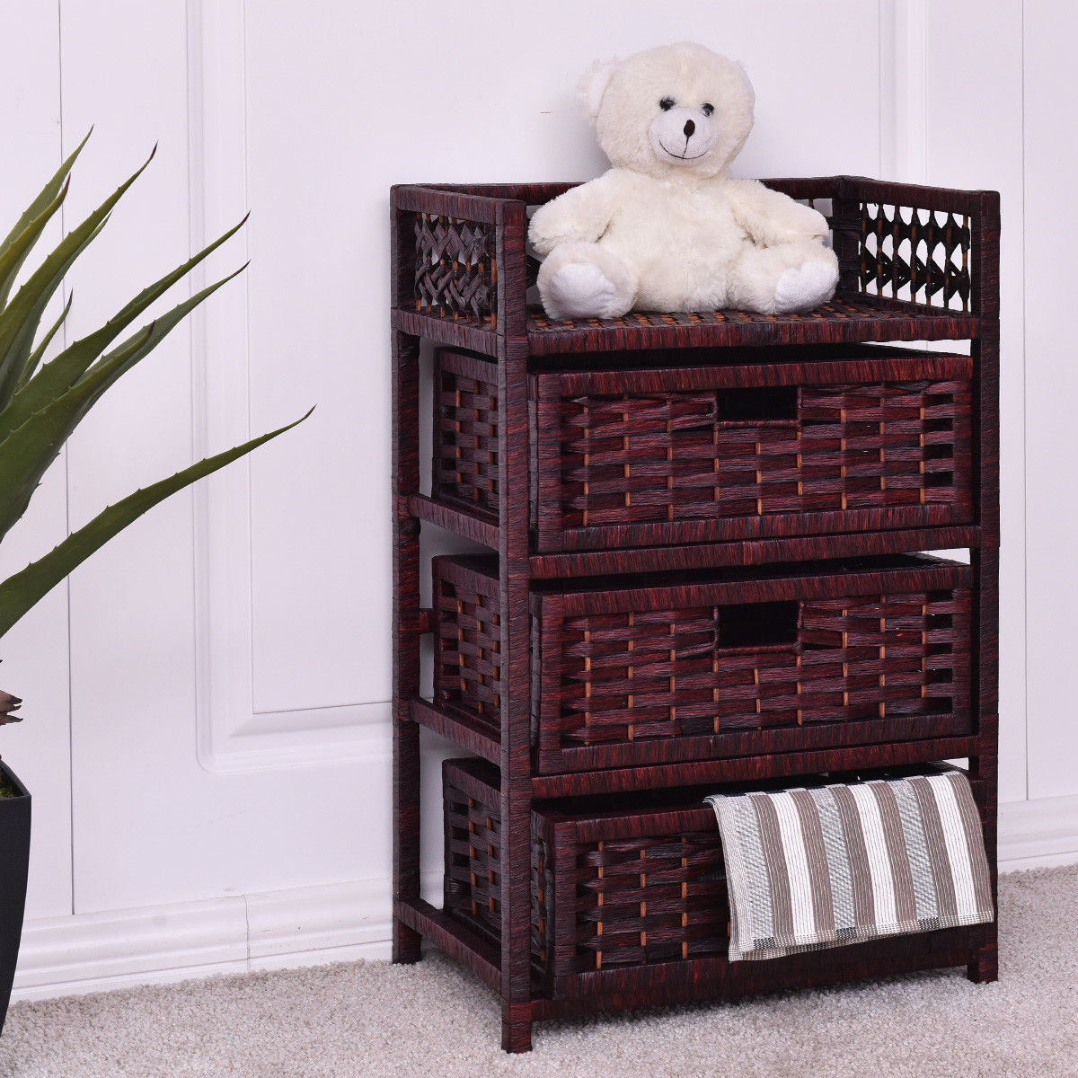 Gymax Storage Chest Tower Shelf 3 Drawer Wicker Baskets Storage Unit by Gymax