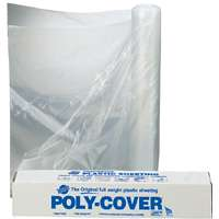 Poly-Cover 4LX8C Waterproof Polyfilm, 4 mil T, 8 ft W x 50 ft L, Clear, Plastic