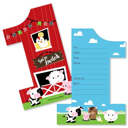 1st Birthday Farm Animals - Shaped Fill-in Invitations - Barnyard First Birthday Party Invitation Cards with Envelopes ()