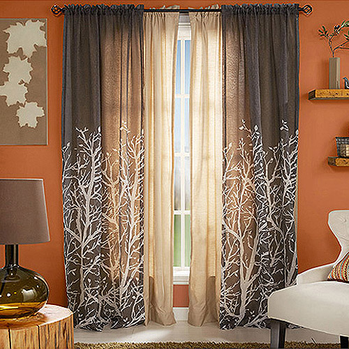 Better Homes And Gardens Arbor Springs Semi Sheer Window Panel, Charcoal    Walmart.com