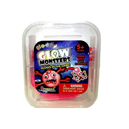 PLAY VISIONS GLO-DOH GLOW MONSTERS GLOWS IN THE DARK, PINK MONSTER