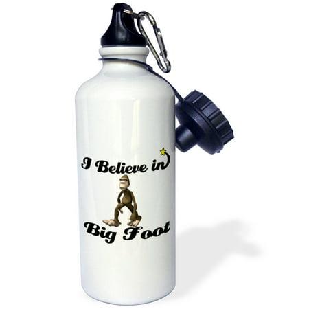 3dRose I Believe In Big Foot, Sports Water Bottle, -
