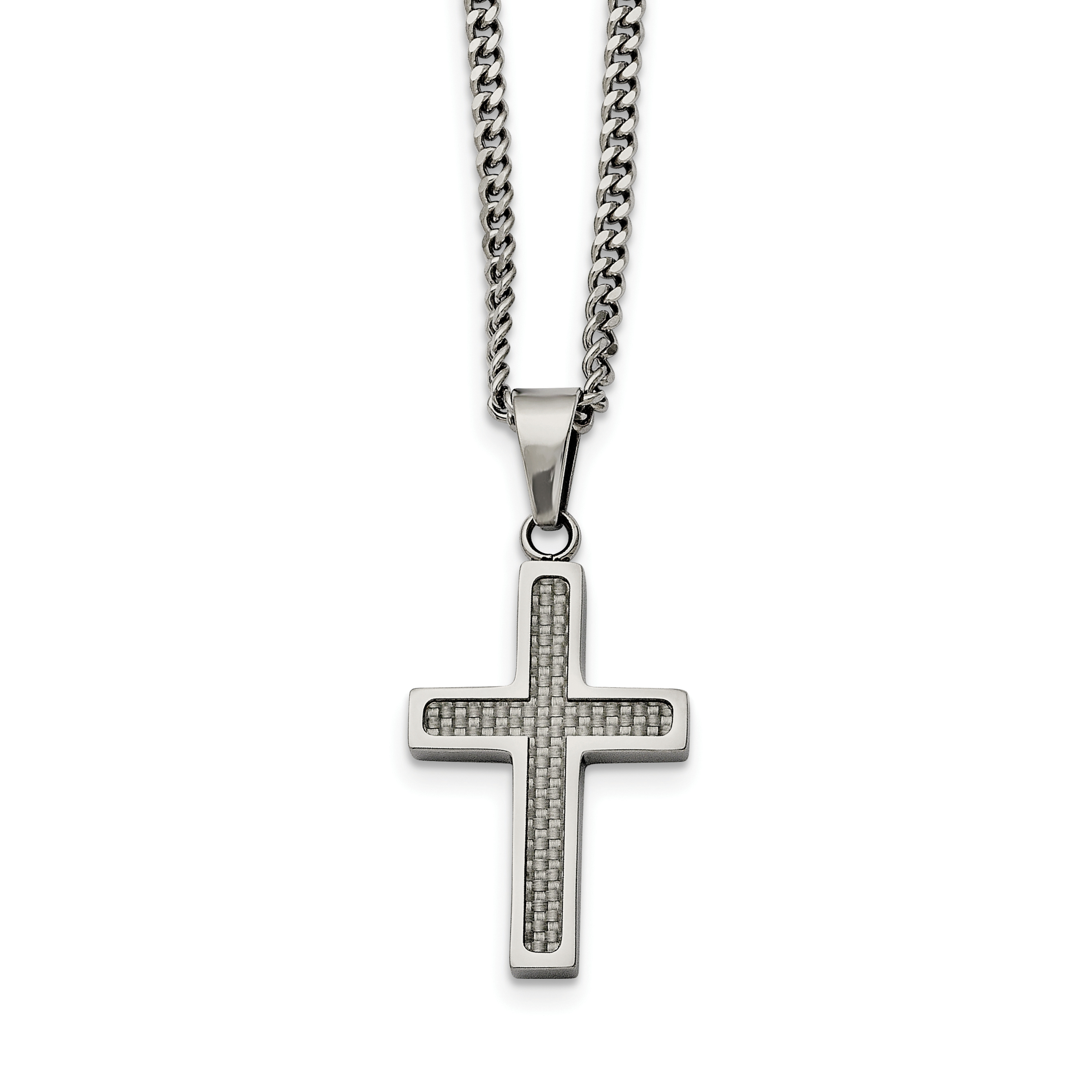 Stainless Steel Polished with Grey Carbon Fiber Inlay Small Cross Necklace 20in - image 3 de 3