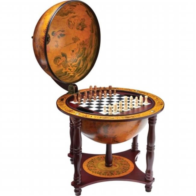BNFUSA HHGLBCH Kassel 13 in. Diameter Globe with 57 Pieces Chess and Checkers Set by B & F System Inc