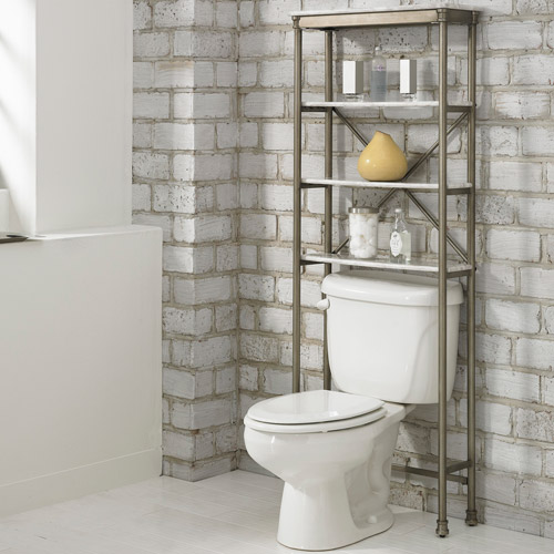 Home Styles The Orleans Over-The-Commode Stand, White/Silver