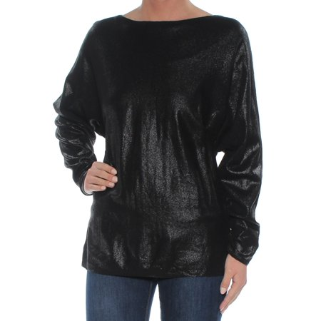 RALPH LAUREN Womens Black Shimmer Long Sleeve Boat Neck Tunic Top Size: XS