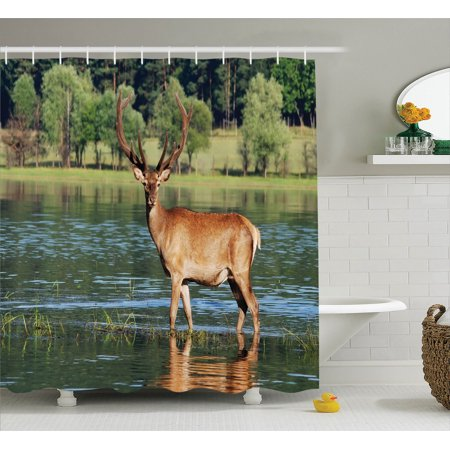 Bath Habitat Set (Deer Decor Shower Curtain Set, Cute Mountain Deer In The Water With A Forest Background Male Mammal Freedom Habitat Photo, Bathroom Accessories, 69W X 70L Inches, By Ambesonne)