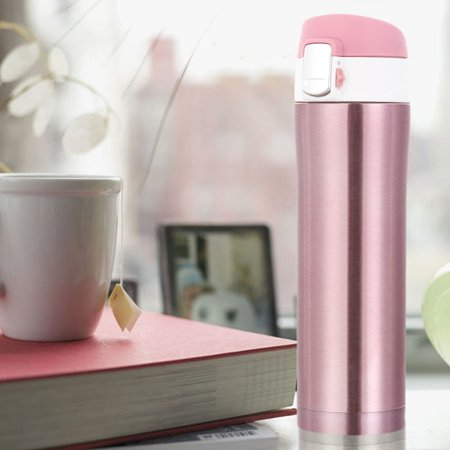 Stainless Steel Water Insulated Cup Mug Thermos Vacuum Heat Retaining Travel Kit Water Coffee Vacuum Bottle(Pink) (Thermos Insulated Cup)