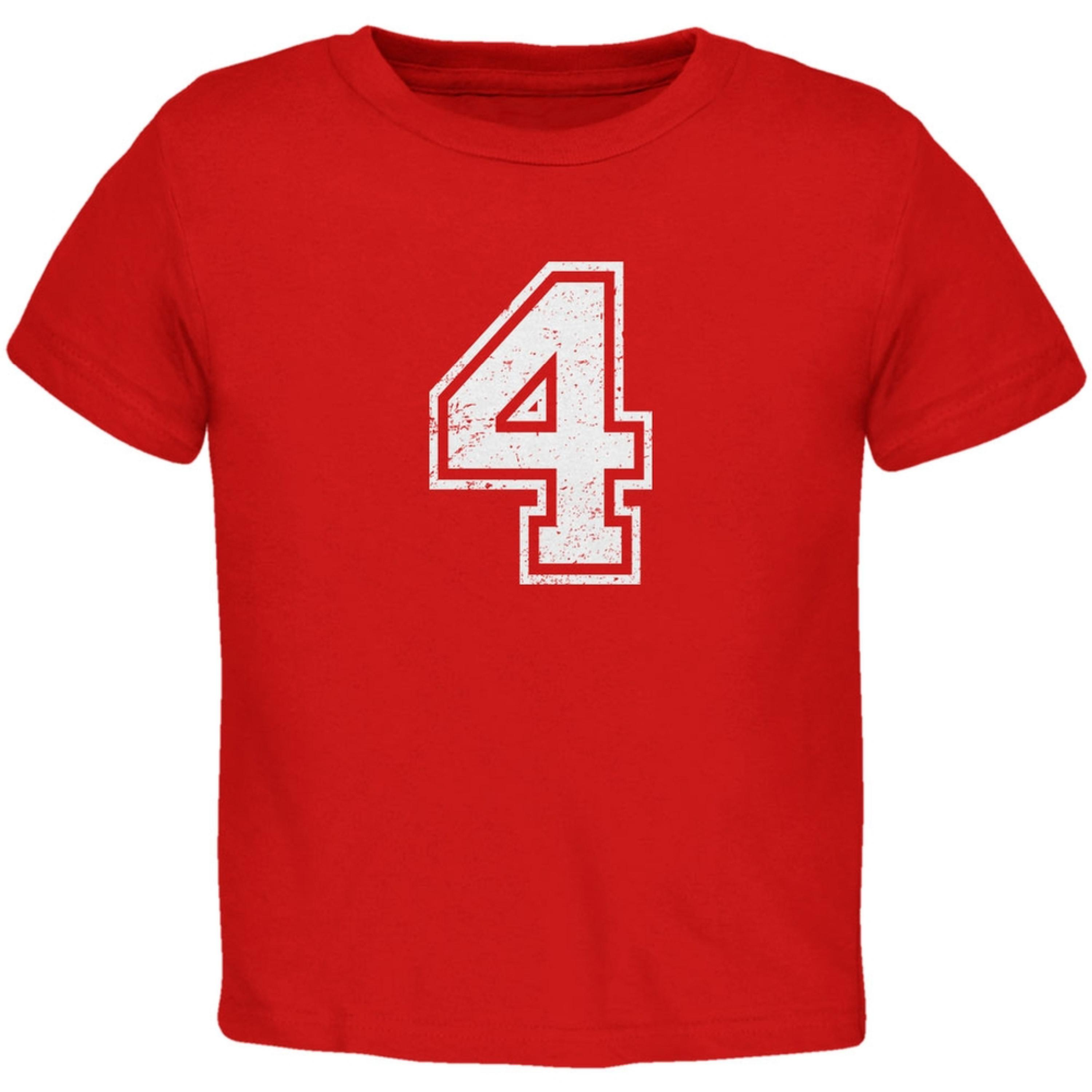 Birthday Kid Jersey 4 4th Fourth Red Toddler T-Shirt