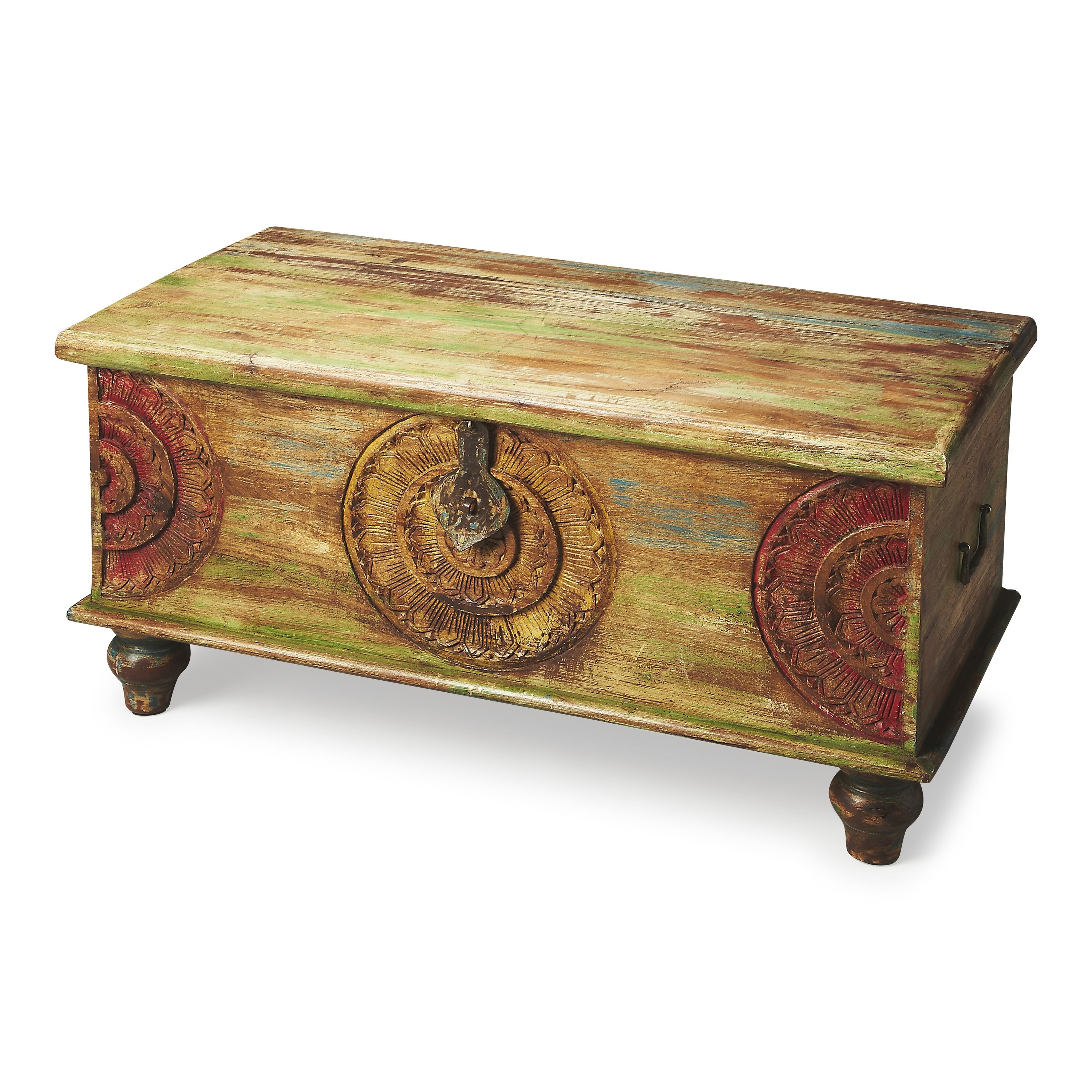 Butler Mesa Carved Wood Trunk Coffee Table