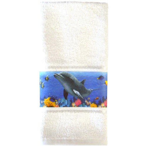 Mainstays Dolphin Sea Hand Towel, White