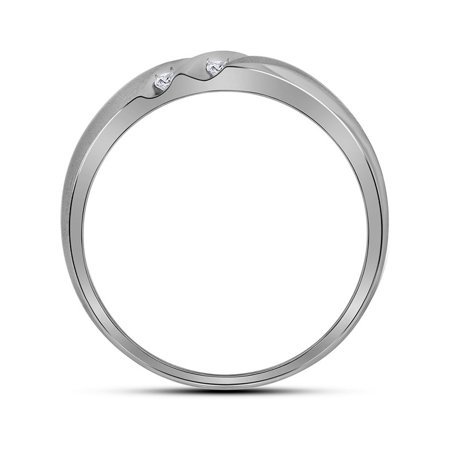 10kt White Gold Mens Round Diamond 2-Row Wedding Band Ring 1/4 Cttw - image 1 de 2