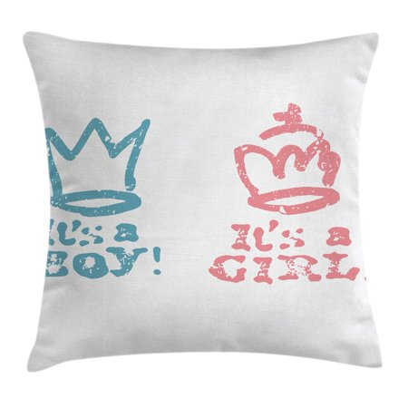 Gender Reveal Decorations Throw Pillow Cushion Cover Girl Queen Boy King Crown In Pastel Cute Children Kids Decorative Square Accent Pillow Case 18