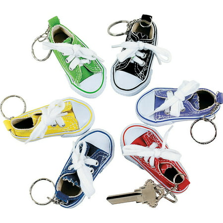 Lot of 12 Canvas Sneaker Tennis Shoe Chucks Keychain Party - Keychain Favors