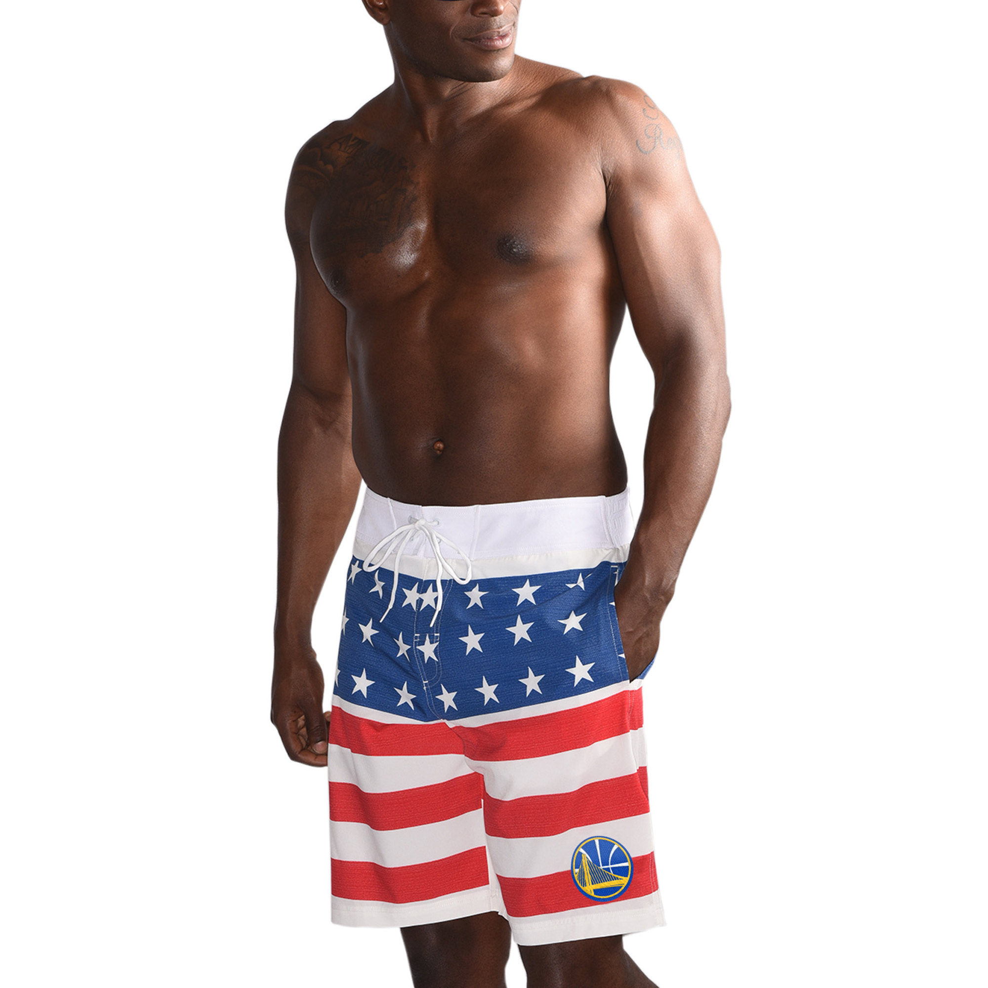 Golden State Warriors G-III Sports by Carl Banks Patriotic Swim Trunks - Red/Blue