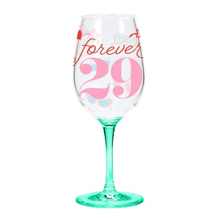 C.R. Gibson QWGO-20896 Forever 29' Birthday Acrylic Wine Glass, 12 oz, - Wine Red Gibson Les Paul