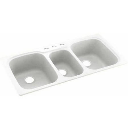 Swan Solid Surface 3-Bowl Kitchen Sink (44\