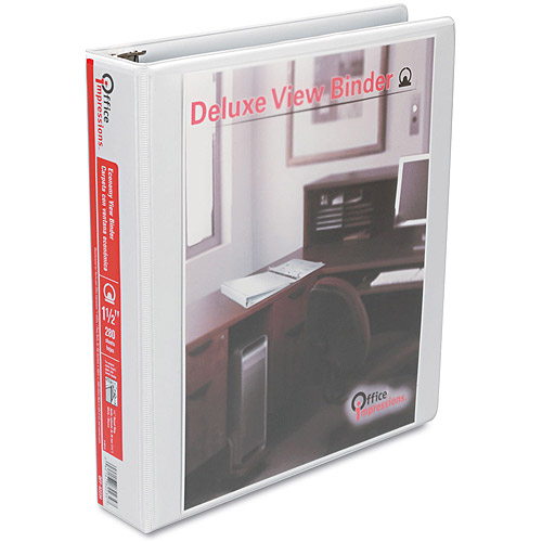 Office Impressions Round-Ring Vinyl View Binder, White, 1.5""