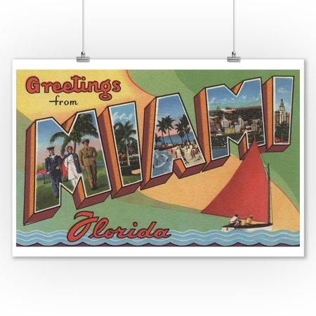 Florida Large Letter (Miami, Florida - Large Letter Scenes (9x12 Art Print, Wall Decor Travel)