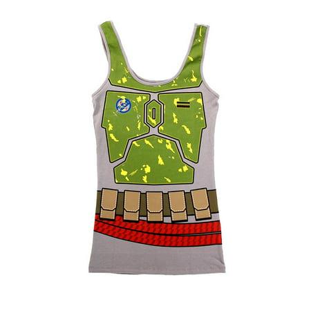 Boba Fett Juniors Costume Tank Top Shirt (Medium, Green)
