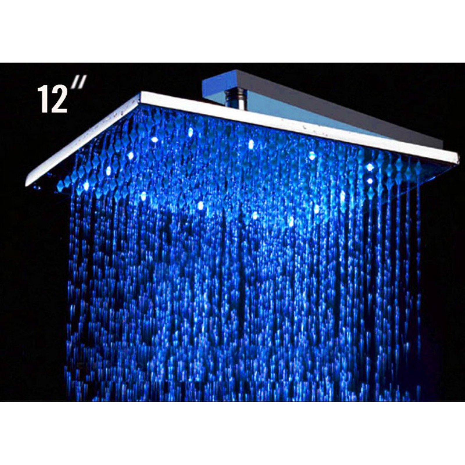 ALFI brand LED5008 12 Inch Square Multi Color LED Rain Shower Head ...