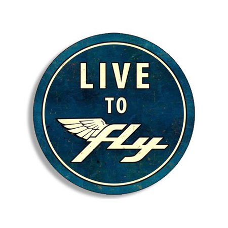 Round Vintage LIVE TO FLY Sticker (gas gasoline logo old rat
