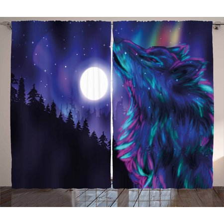 Moon Curtains 2 Panels Set, Northern Imagery with Aurora Borealis Wolf Spirit Magical Forest Starry Night, Window Drapes for Living Room Bedroom, 108W X 90L Inches, Indigo Aqua Magenta, by