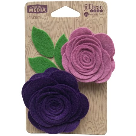 Jillibean Soup Mix The Media Felt Flowers 2/Pkg-Pocket Of (Jeweled Felt Flowers)