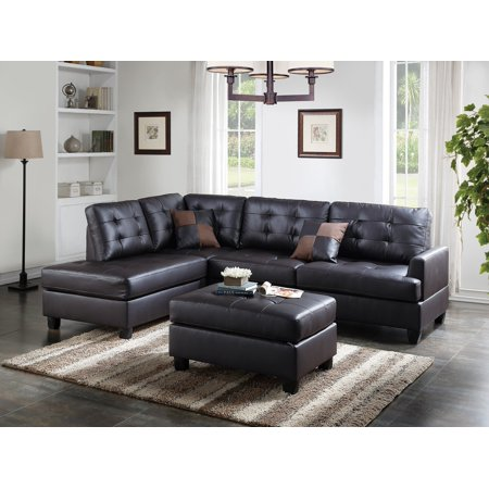 Mathew Sectional Sofa Set Espresso Faux Leather Sofa