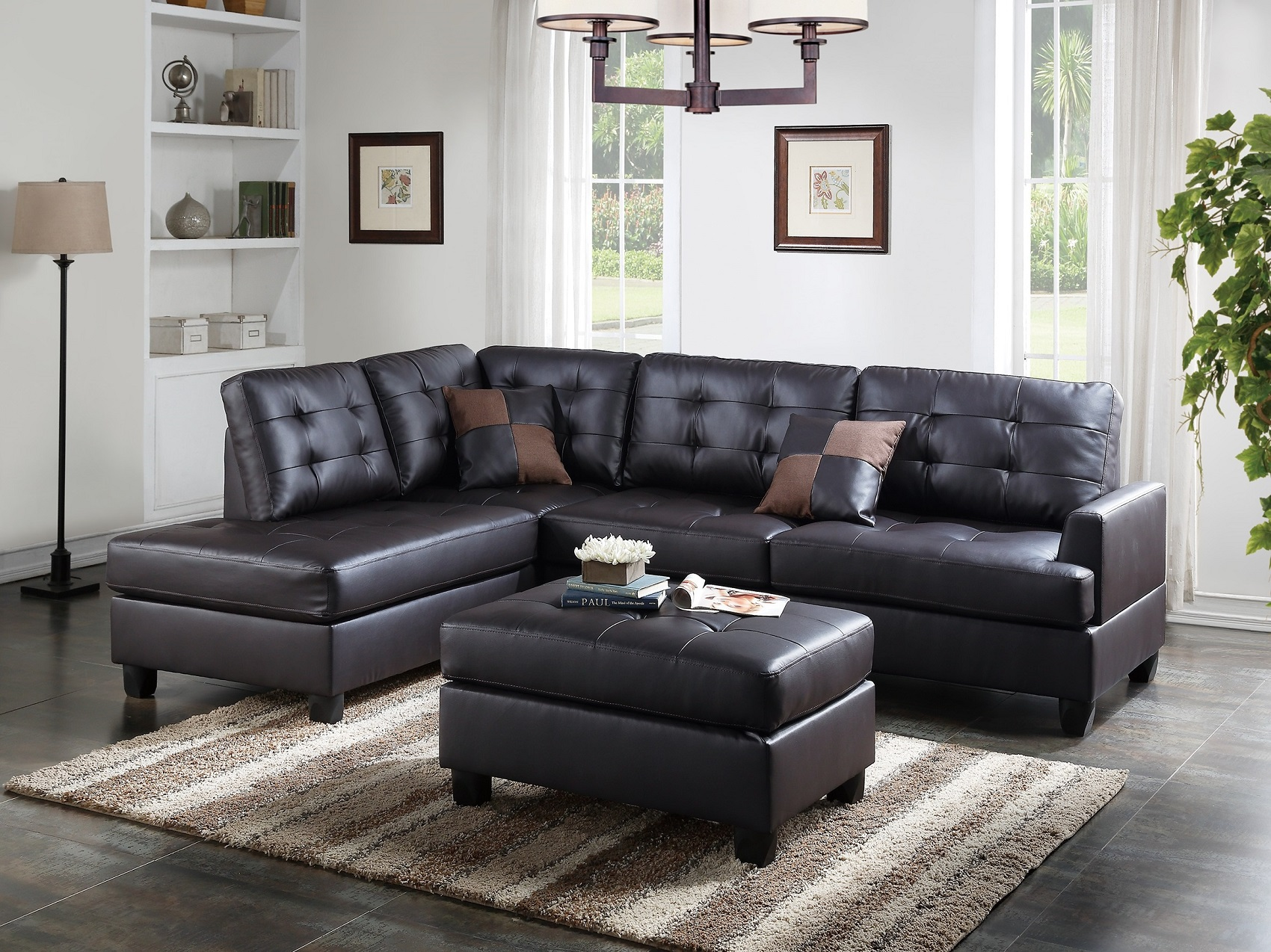 Mathew Sectional Sofa Set Espresso Faux Leather Sofa Chaise Ottoman Tufted  Comfort Couch Living Room Furniture   Walmart.com